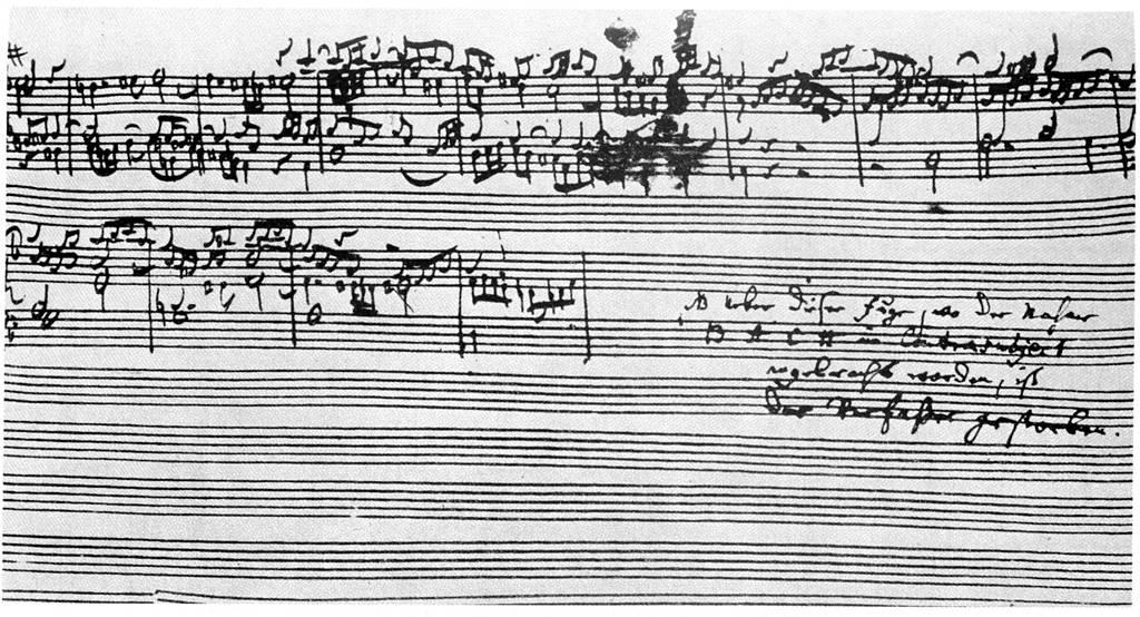 J.S. Bach, manoscritto originale (non finito) del Contrapunctus XIV, 1745-51