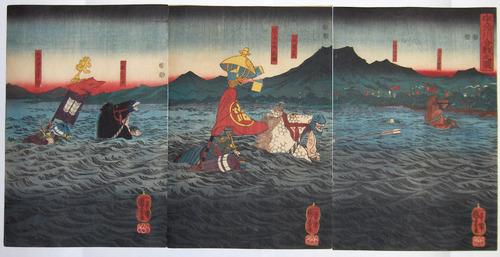 Utagawa Kuniyoshi, Takatsuna e due rivali sul fiume Uji, 1845